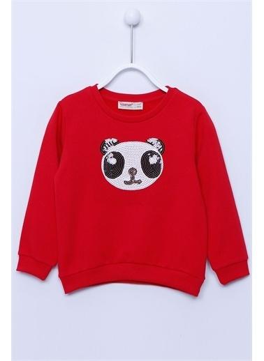 Silversun Kids Sweat Shirt Örme Uzun Kollu Pul Işlemeleli Sweatshirt Kız Çocuk Js-212985 Kırmızı